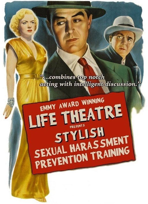 Noir-style poster for sexual harassment training